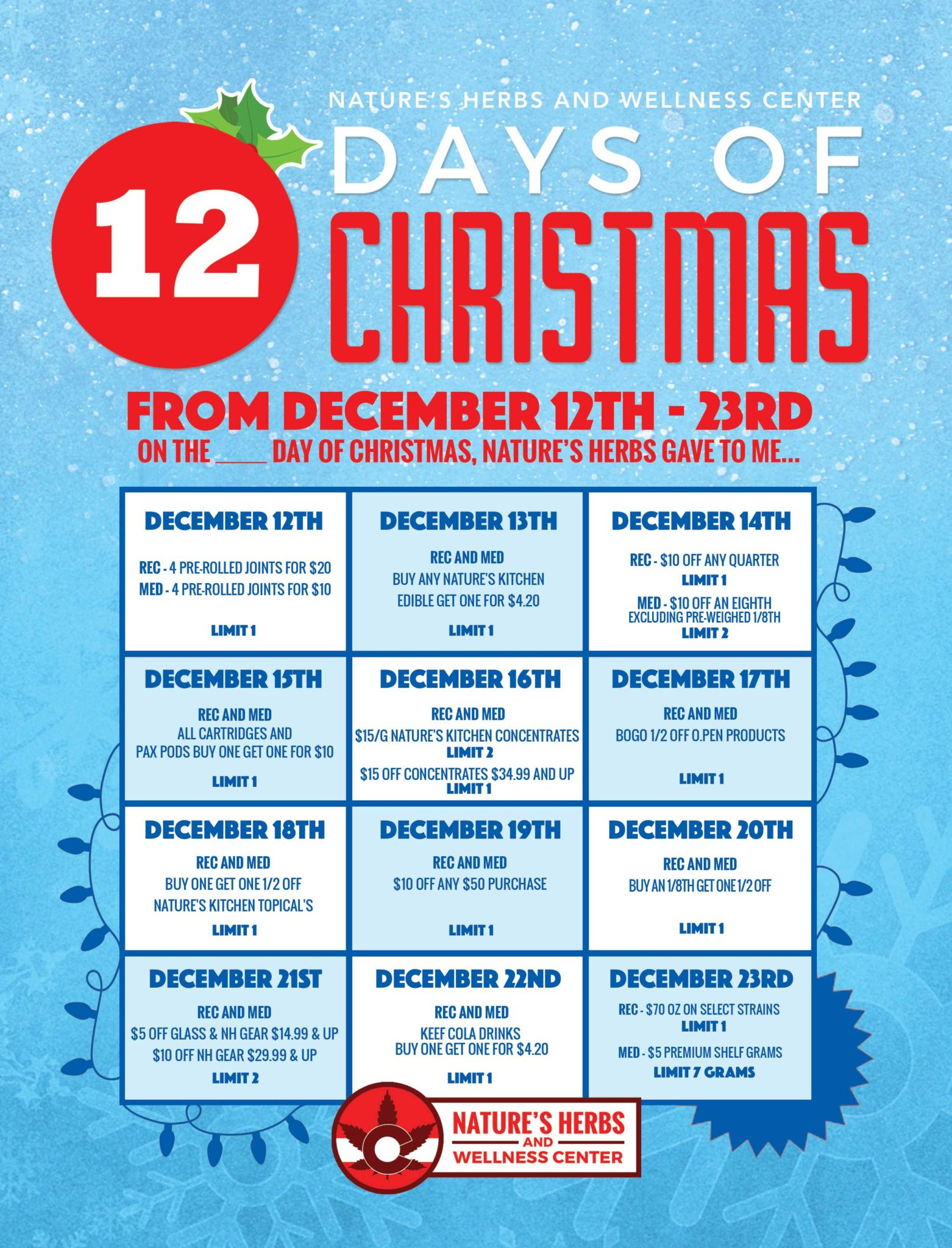 Nature's Herbs and Wellness   12 Days Of Christmas Sales