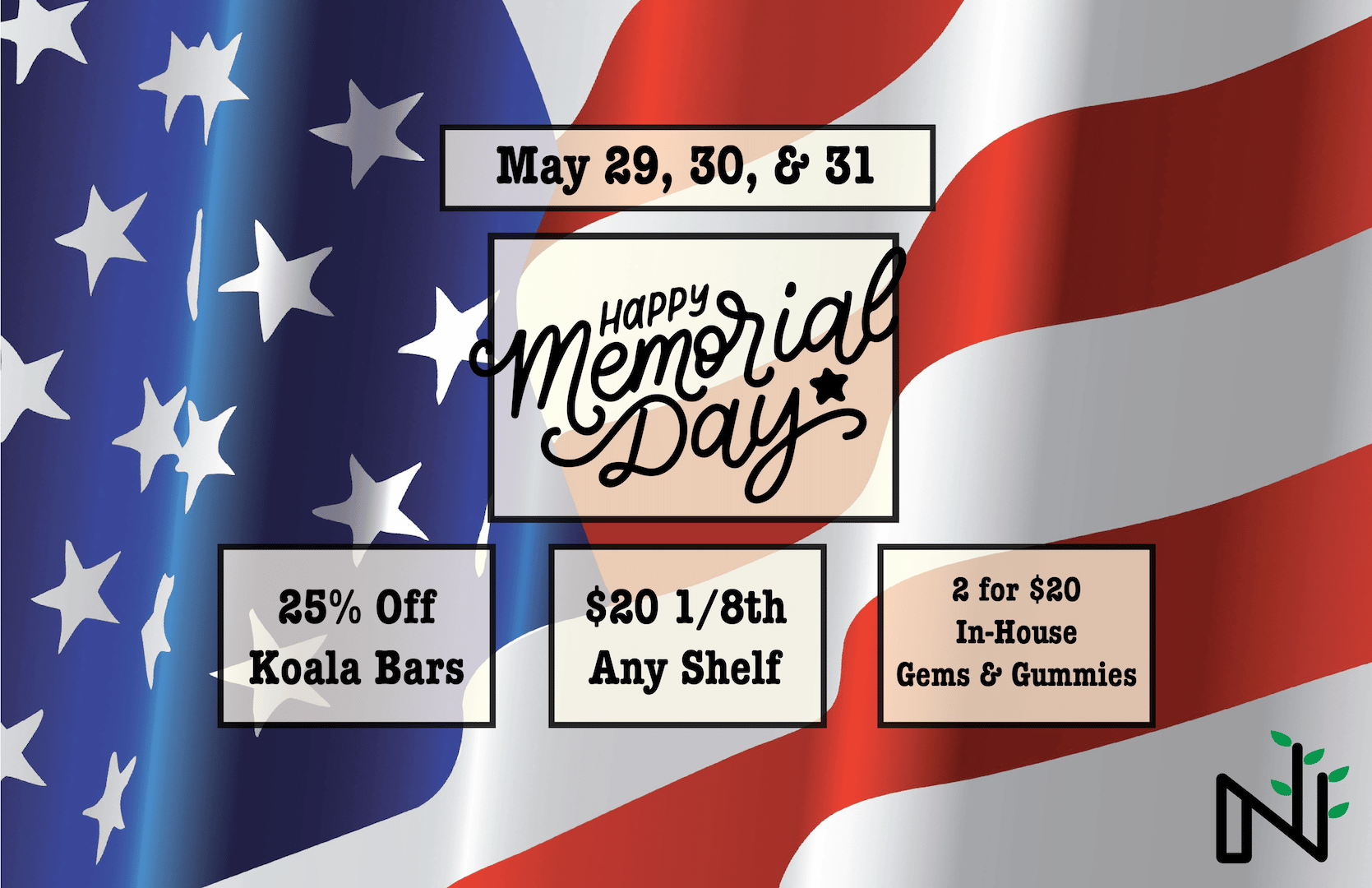 Memorial Day Sale at ALL Nature's Herbs REC Locations!