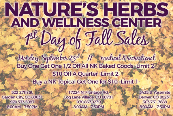 Nature's Herbs and Wellness Center | First Day of Fall Sales | September 2019