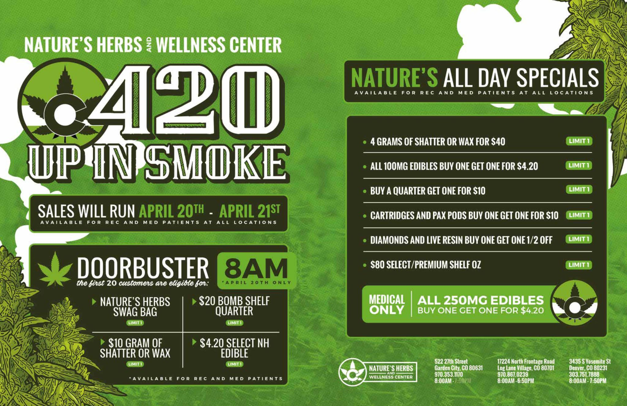 Nature's Herbs and Wellness | 420 Up In Smoke Sale