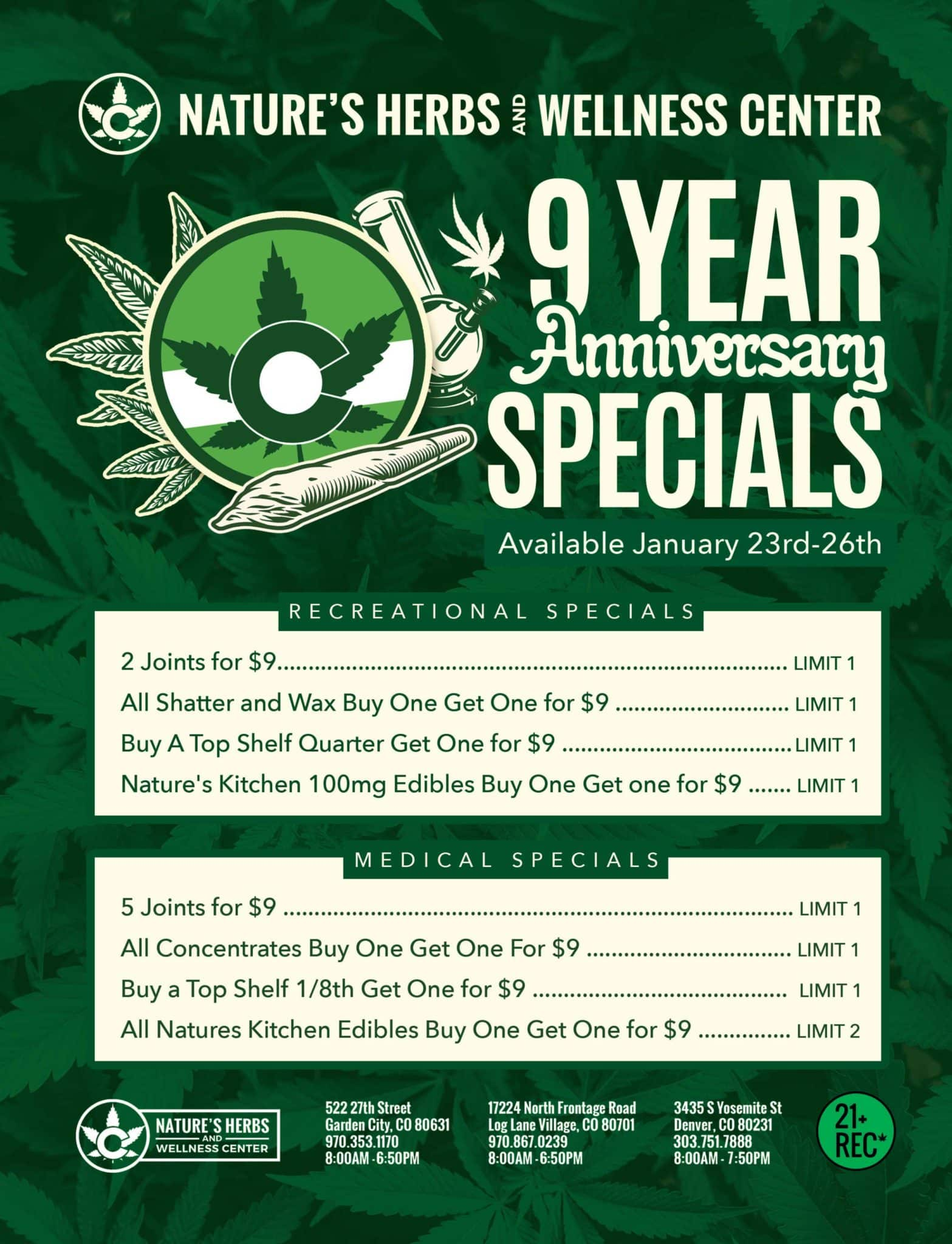 Nature's Herbs 9 Year Anniversary Specials