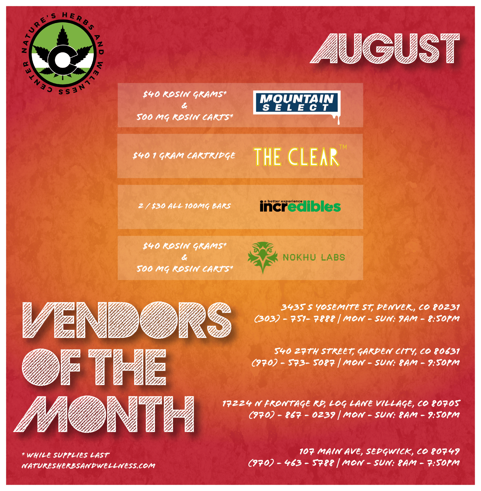 Vendors of the Month – August