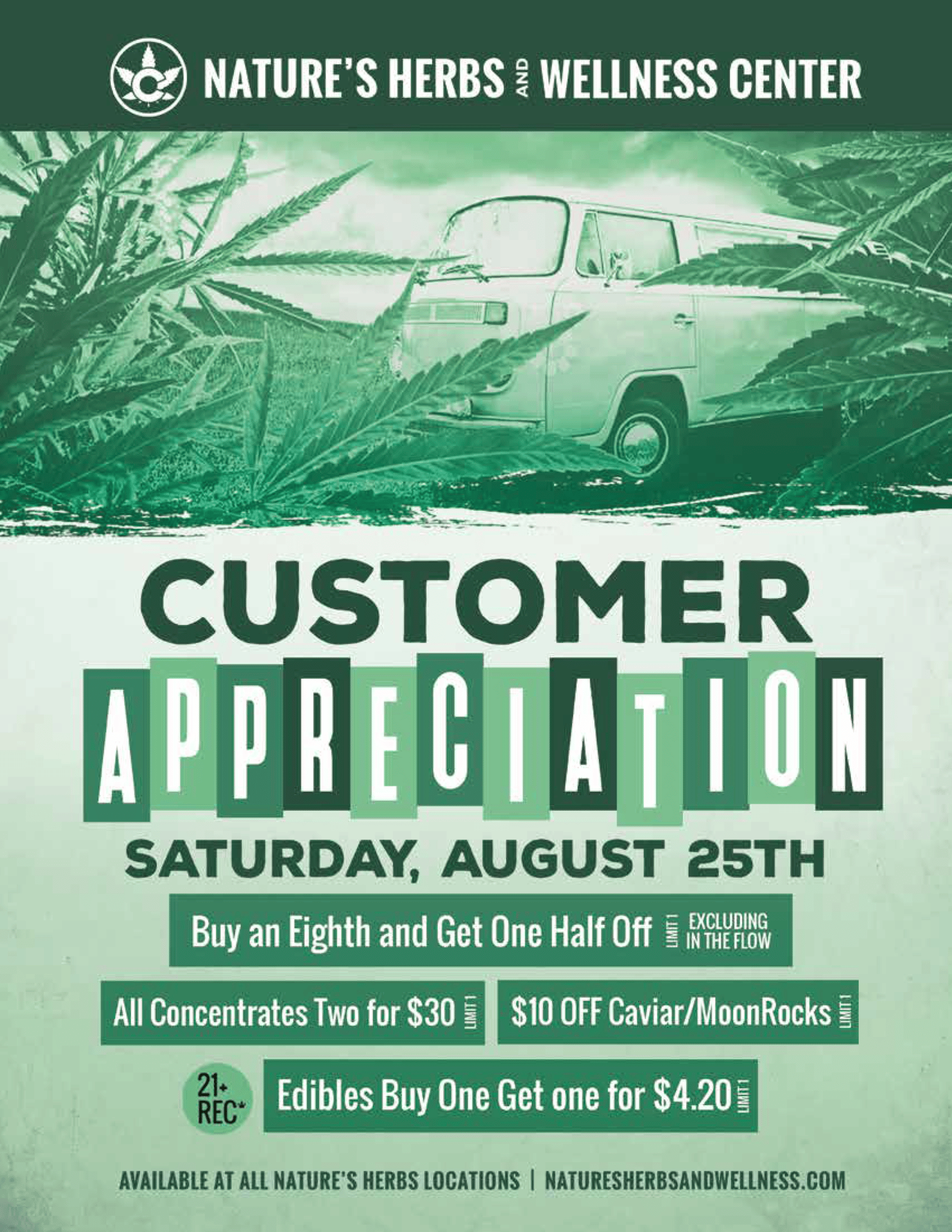 Nature's Herbs Customer Appreciation Day | Saturday, August 25th