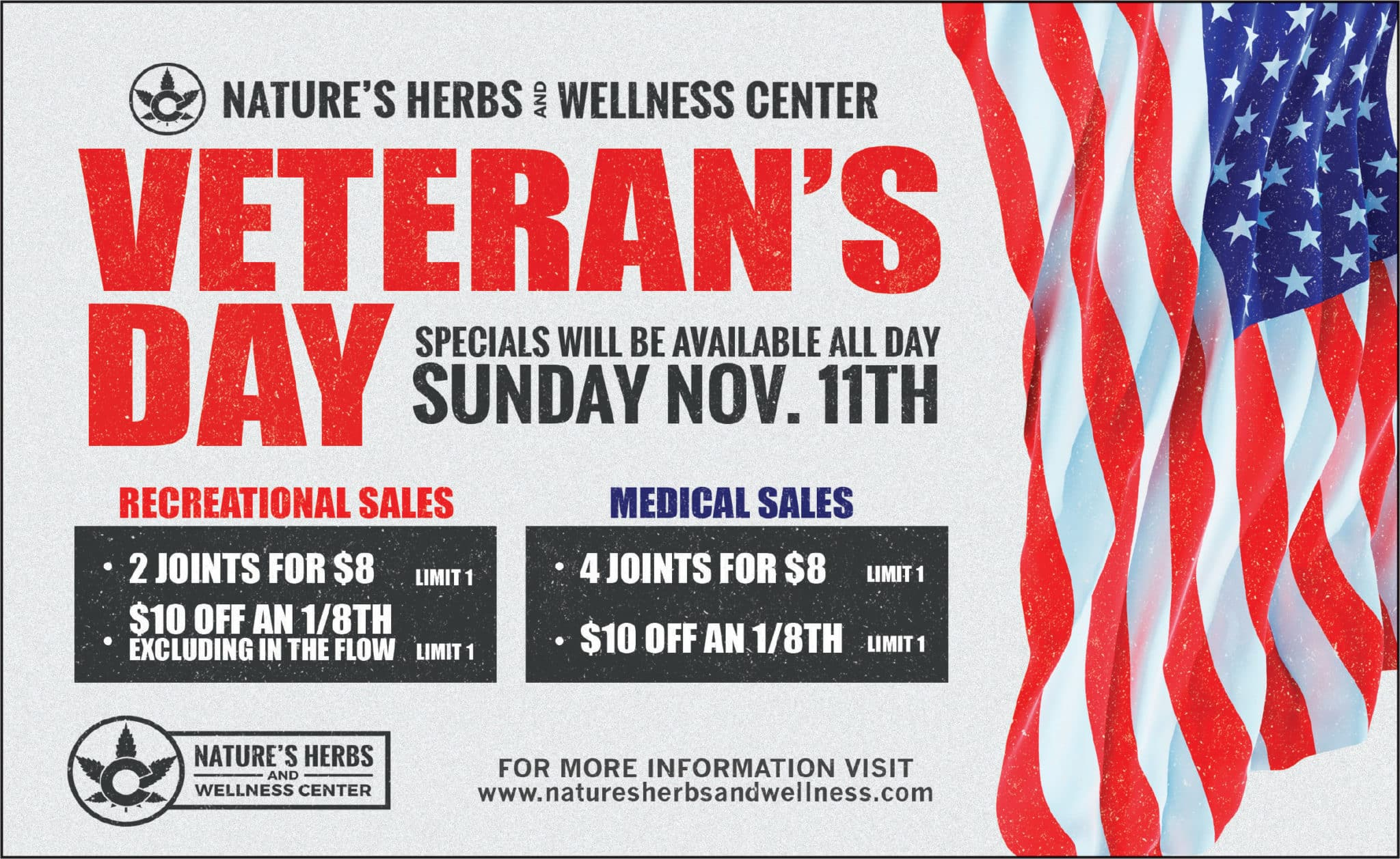 Nature's Herbs and Wellness Veteran's Day Specials