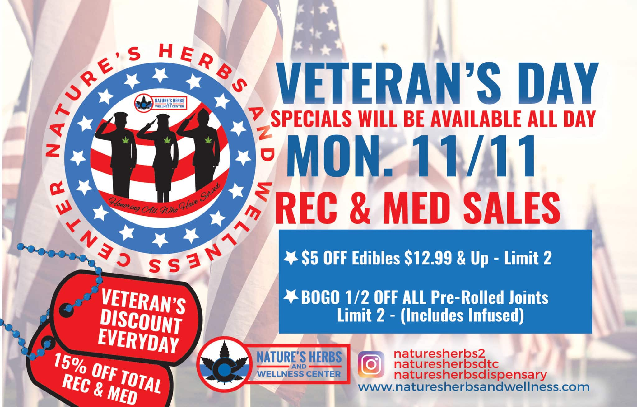 Nature's Herbs and Wellness | Veteran's Day Sale